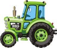绿色动画片拖拉机 免版税库存照片