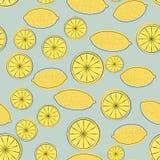 黄色动画片柠檬的无缝的样式 免版税库存图片