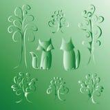绿色动画片逗人喜爱的动物 免版税库存图片