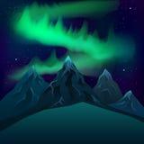 绿色北极光在山现实传染媒介夜 免版税库存图片