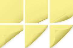 黄色卷曲了纸集合 免版税库存照片