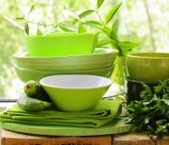 绿色厨房器物 免版税图库摄影