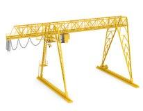 黄色台架桥式起重机,半轮 免版税库存照片