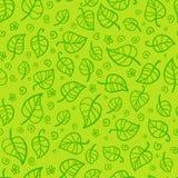 绿色叶子动画片传染媒介无缝的样式 免版税图库摄影