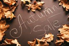 黄色叶子和词秋天销售在黑板葡萄酒样式 免版税库存图片