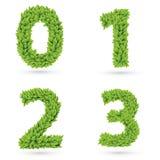 绿色叶子收藏的数字 免版税库存图片