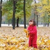 黄色叶子的一个小女孩 免版税库存图片