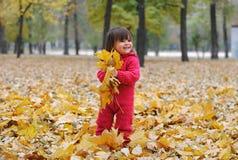 黄色叶子的一个小女孩 免版税库存照片