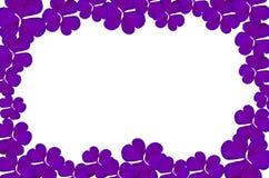 从紫色叶子的框架在白色背景 免版税库存图片