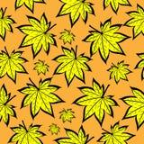 黄色叶子秋天 无缝的模式 免版税库存照片