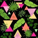 绿色叶子,桃红色和黄色三角的生动的无缝的样式 库存图片