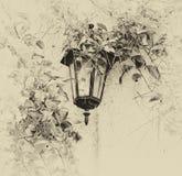 绿色叶子围拢的古色古香的维多利亚女王时代的室外壁灯 减速火箭的老牌被过滤的图象 图库摄影