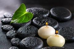 绿色叶子水芋百合和蜡烛美丽的温泉静物画  免版税库存照片