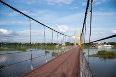 黄色吊桥 免版税库存照片