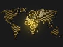 黄色同心环世界地图在深灰背景的 全世界通信无线电波概念现代设计 向量例证