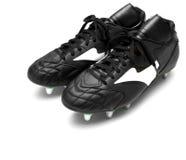 黑色启动橄榄球查出的足球 免版税库存图片