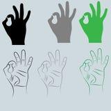 黑色和其他颜色手以标志Ok 免版税库存照片