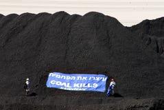 绿色和平阻拦词条对发电站在南以色列 库存照片