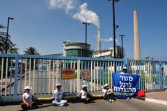 绿色和平阻拦词条对发电站在南以色列 免版税库存图片