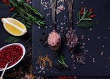 黑色和桃红色喜马拉雅盐 库存照片