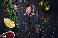 黑色和桃红色喜马拉雅盐 免版税库存照片