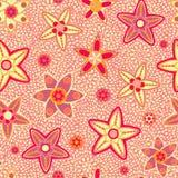 黄色和桃红色花无缝的样式 免版税库存图片