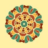 绿色和棕色坛场装饰品对称无缝的背景 装饰圆的装饰品着色反重音疗法 库存图片