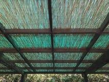 绿色和棕色茅屋顶 免版税库存照片
