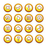 黄色和橙色圆的按钮 库存图片