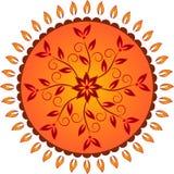 黄色和橙色花太阳装饰传染媒介 免版税库存照片