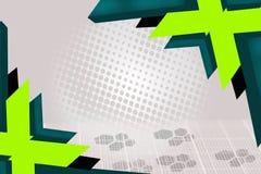 绿色和深绿箭头交叠,抽象背景 免版税库存照片