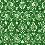绿色和白色无缝的抽象花卉样式葡萄酒背景 免版税库存图片