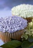 紫色和白色杯形蛋糕 库存照片