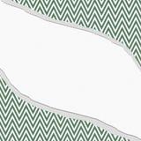 绿色和白色雪佛之字形框架有被撕毁的背景 库存照片