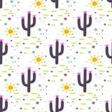 紫色和白色仙人掌沙漠无缝的样式 库存例证