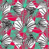 绿色和红色棕榈叶和丑角rhombs无缝的传染媒介样式 免版税库存照片