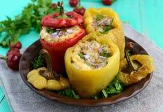 黄色和红色烘烤了胡椒充塞用肉末和米 库存图片