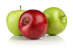 绿色和红色苹果计算机小组 库存图片