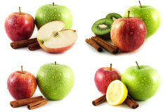 绿色和红色苹果,猕猴桃,柠檬在白色设置了 库存图片