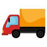 黄色和红色货物卡车 免版税库存照片