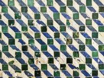 绿色和蓝色几何瓦片样式 库存照片