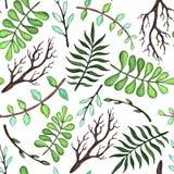 绿色和蓝色叶子和树枝无缝的样式,传染媒介例证 图库摄影