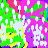 绿色和蓝色和桃红色线背景和散开流动的油漆白色斑点  库存例证