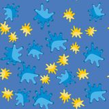 黄色和蓝色污点动画片无缝的样式625 皇族释放例证