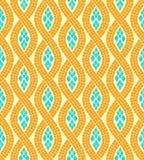 黄色和蓝色波浪马赛克无缝的样式,传染媒介 免版税库存图片