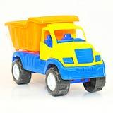 黄色和蓝色玩具卡车 免版税图库摄影