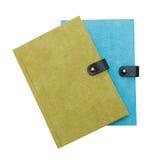 绿色和蓝色笔记本 图库摄影