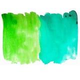 绿色和蓝色纹理水彩刷子冲程 免版税库存照片