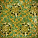 绿色和蓝色花的抽象无缝的样式在退色的 免版税图库摄影