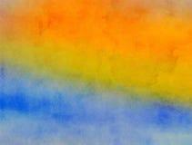 黄色和蓝色被混和的水彩油漆纹理 库存照片